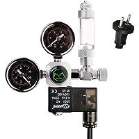 NICREW CO2 tryckregulator akvarium, CO2 tryckregulator med 2 manometer, magnetventil och blåsräknare för akvarium