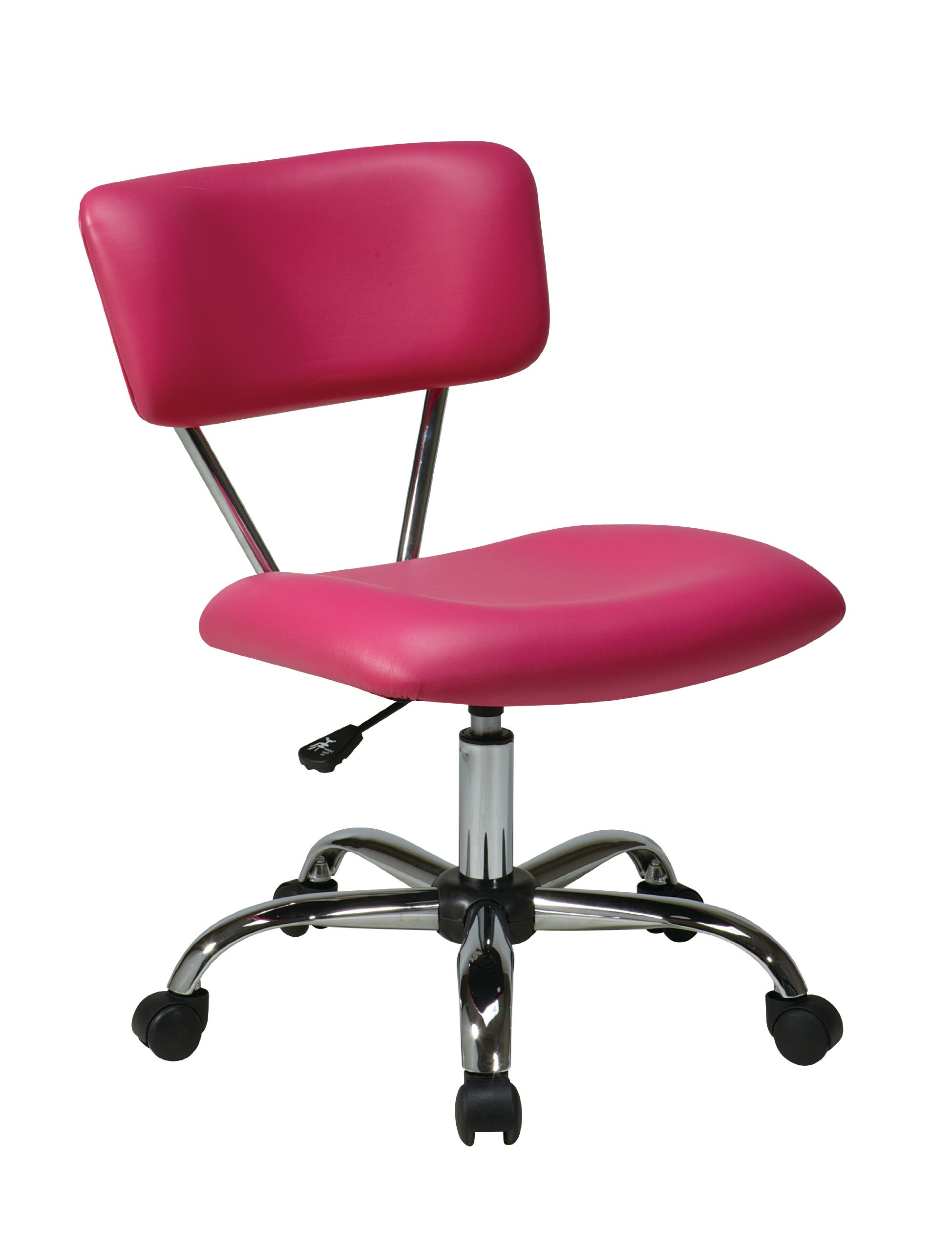 AVE SIX Vista Faux Leather Seat and Back Task Chair with Chrome Accents, Pink