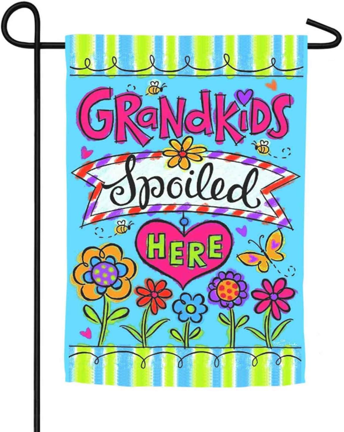 CZQHFLAU Grandkids Spoiled Here Farmhouse Yard Outdoor Decoration Burlap Garden Flag 12.5 x 18 Inch Double Sided