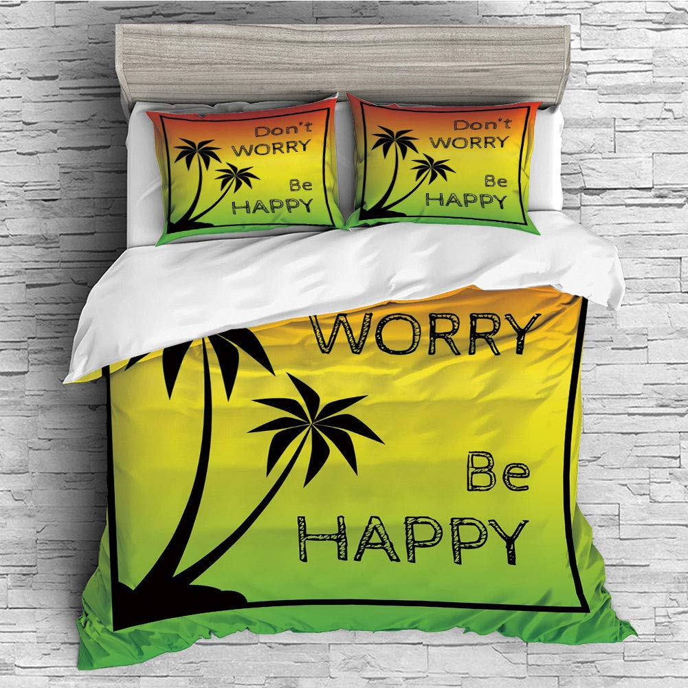 4 Pcs 3D Printed Young Bedding Collections Lightweight, Hypoallergenic(Singe Size) Rasta,Dont Worry Be Happy Music Quote of Iconic Singer Palms Ombre Colors Decorative,Lime Green Yellow Black