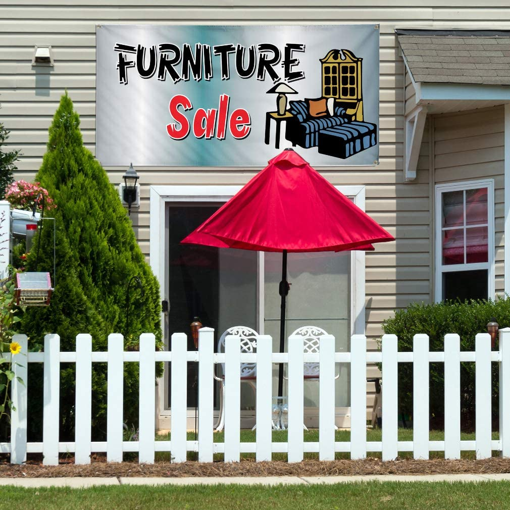 Vinyl Banner Multiple Sizes Furniture Sale Business C Business Outdoor Weatherproof Industrial Yard Signs Blue 8 Grommets 48x96Inches