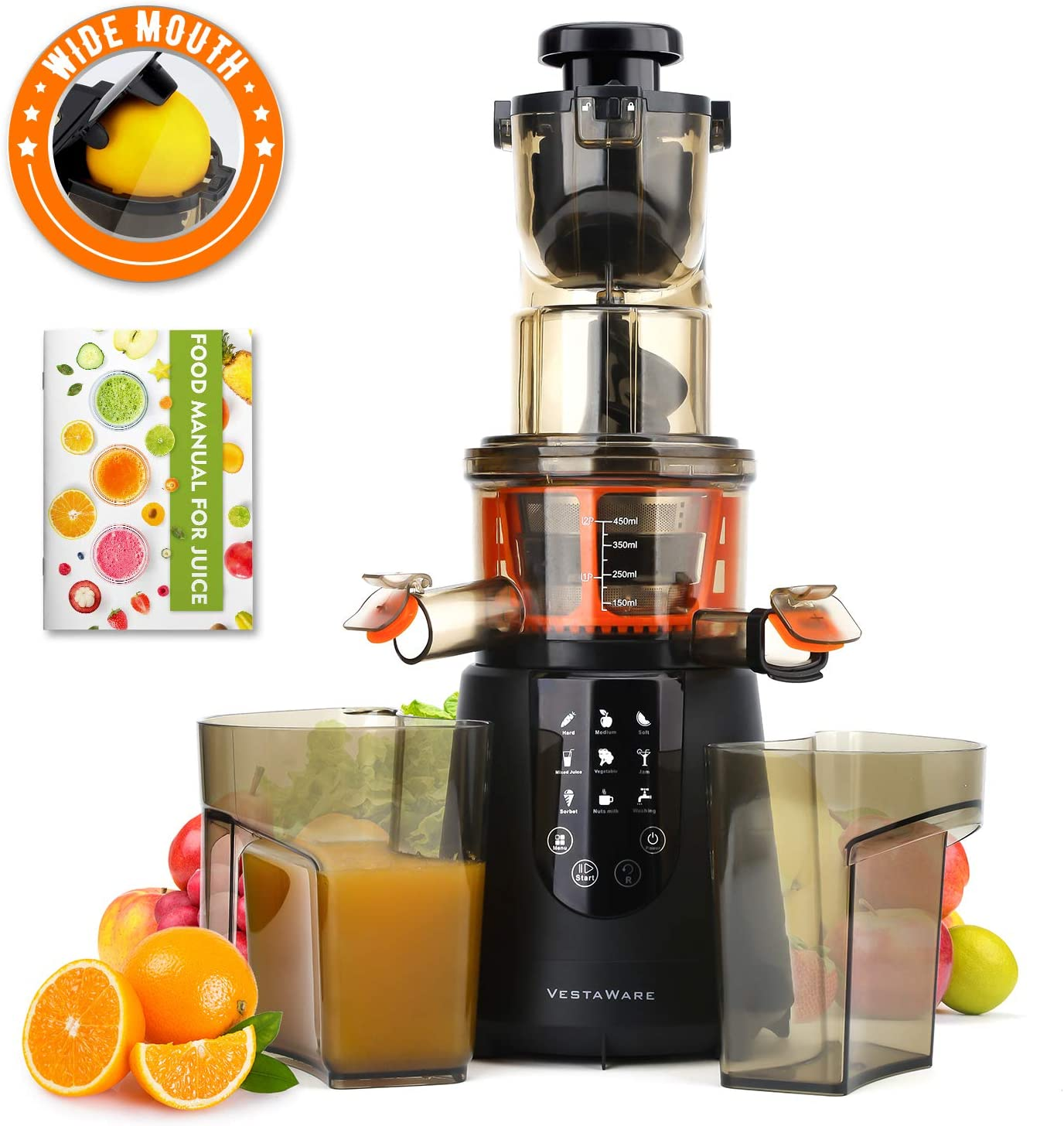 Masticating Juicer, Vestaware Slow Juicer Machines Large Chute Cold Press Juicer with Quiet Motor & Reverse Function, Easy Clean BPA Free Juice
