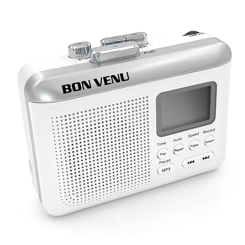 Bon Venu Portable Cassette to MP3 Converter Tape Player - Audio Recorder & Music Player - Built-in LCD Screen & Speaker - Rechargeable - Modern & Sleek Design - Includes TF USB Reader & Earphones