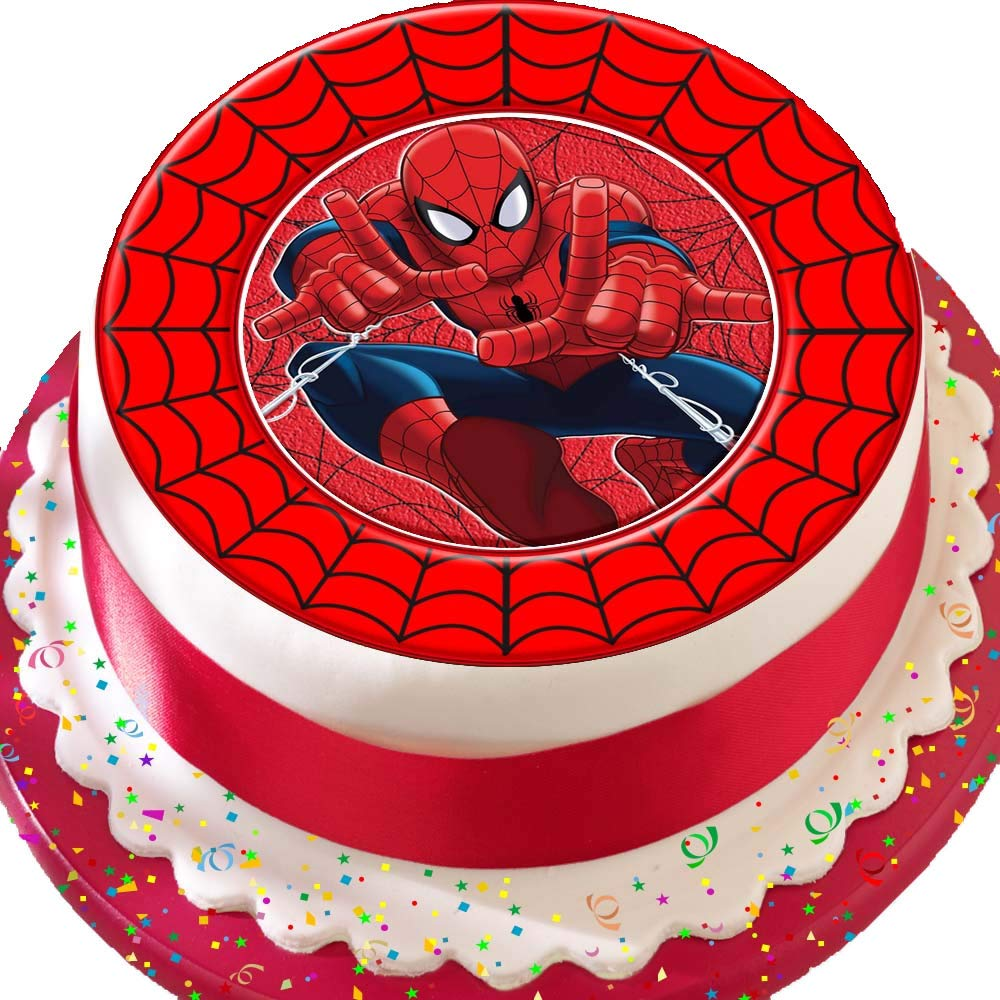 Amazing Spiderman Red Web Border Birthday Precut Edible Icing Cake Topper Personalised Birthday Cards Paralily Jamesorg