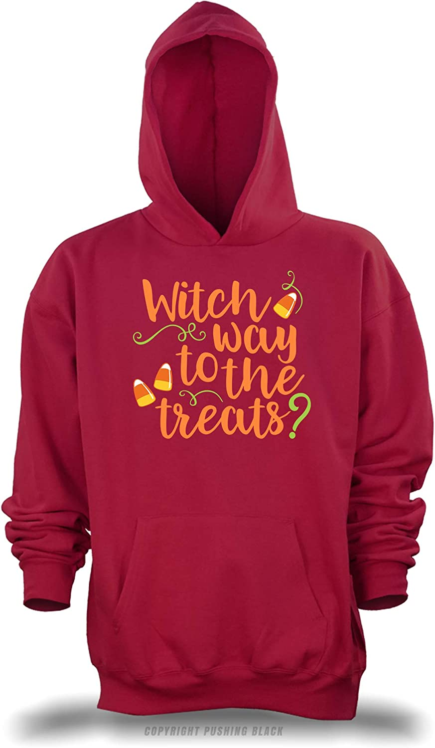 PUSHING BLACK Witch Way to The Treats Unisex Pullover Hoodie