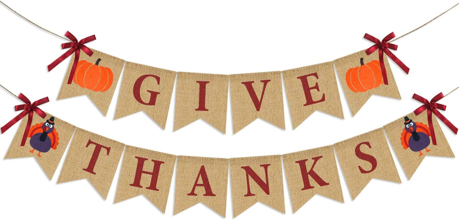 Give Thanks Burlap Banner| ThanksGiving Burlap Banner Thanksgiving Decorations| Rustic Thanksgiving Turkey Pumpkin Bunting| Thanksgiving Party Supplies Fireplace Mantle Decor