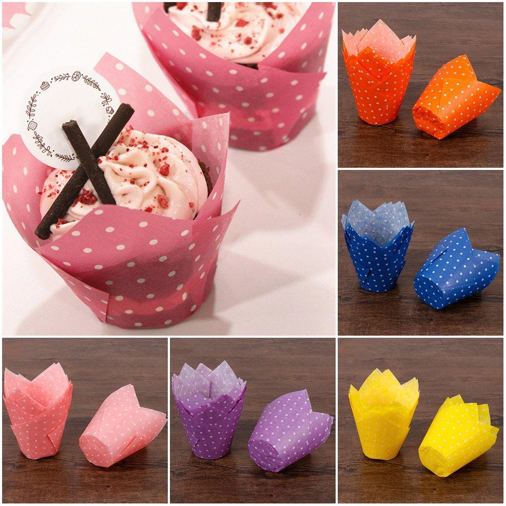 muffins Lot de 50/moules en papier /à ondulations vertes pour g/âteaux