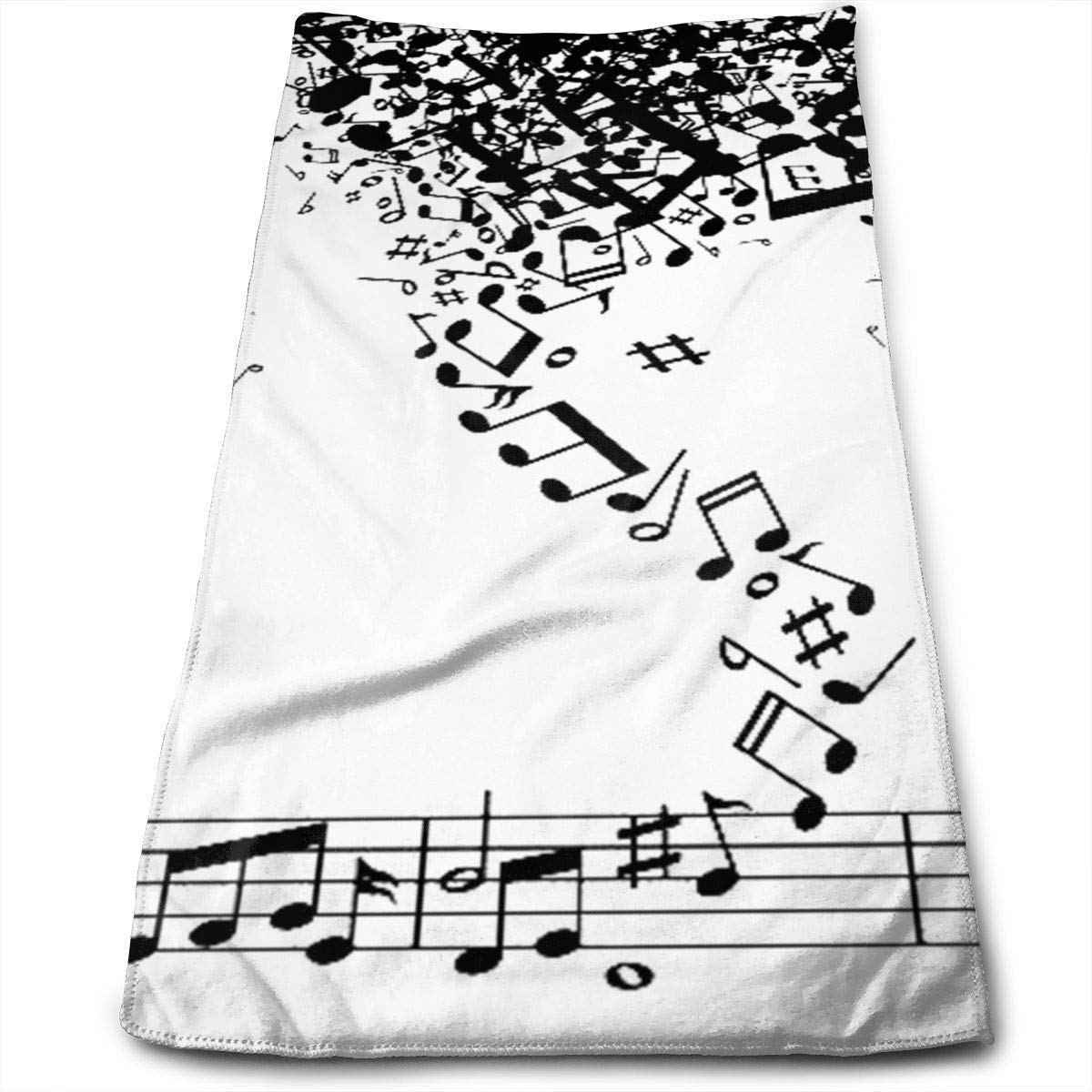 2019 New Bath Towels Black Music Notes Storm Face Towels Highly Absorbent Washcloths Multipurpose Towels for Hand Face Gym and Spa 12' X 27.5'