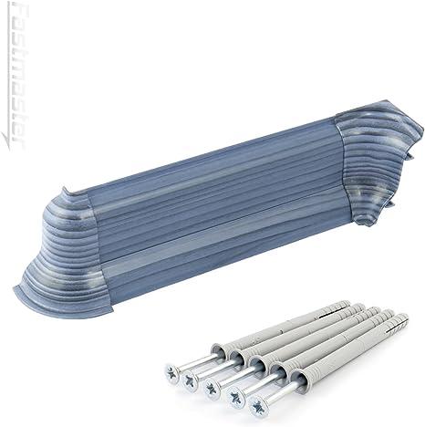 5 D/übel Laminatleisten Fussleisten aus Kunststoff PVC Laminat Dekore 2,5m SOCKELLEISTEN 52mm PCV wei/ß DQ-PP