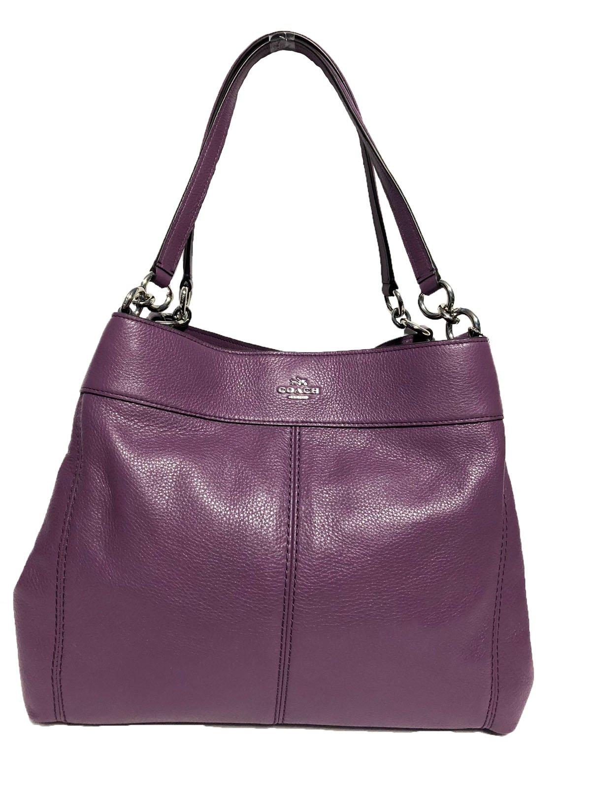 Coach F57545 Lexy Pebble Leather Shoulder Bag (SV/Berry)