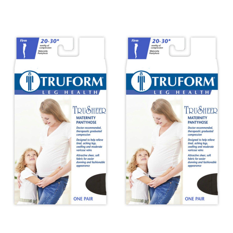 Truform Maternity 20-30 Mmhg Sheer Pantyhose Black, Medium, 2 Count
