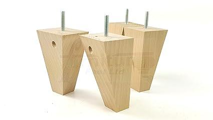 4x Meuble en bois pieds de remplacement de jambes pour canapé chaises canapé M10 10 mm