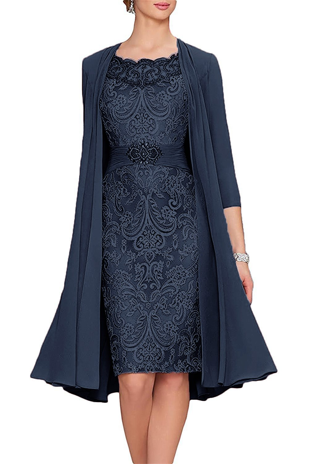 APXPF Women\u0027s Tea Length Mother of The Bride Dresses Two Pieces with Jacket  Navy US4