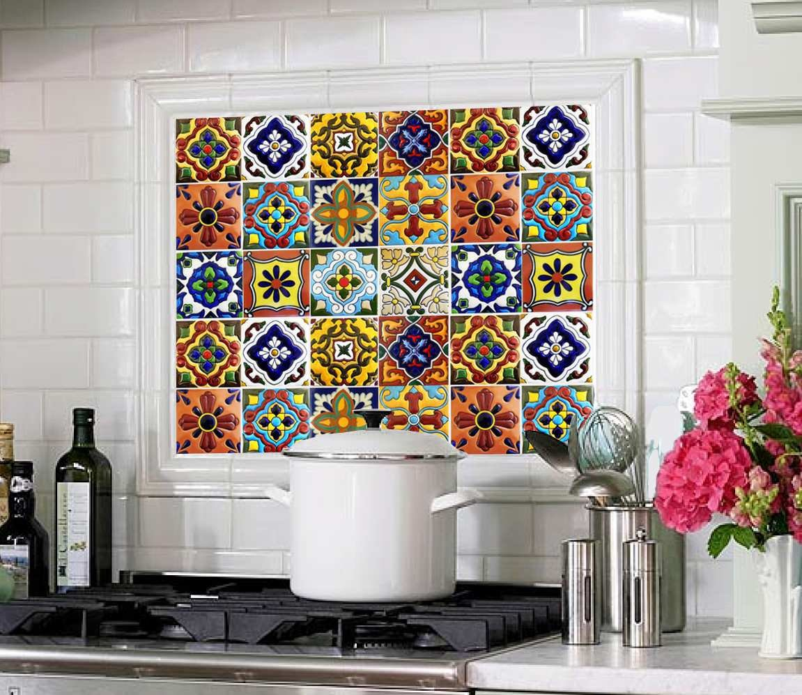 Amazon tile stickers 4x4 inch 40pc inch kitchen backsplash amazon tile stickers 4x4 inch 40pc inch kitchen backsplash bathroom vinyl waterproof peel and stick mexican talavera tr001 home kitchen dailygadgetfo Gallery