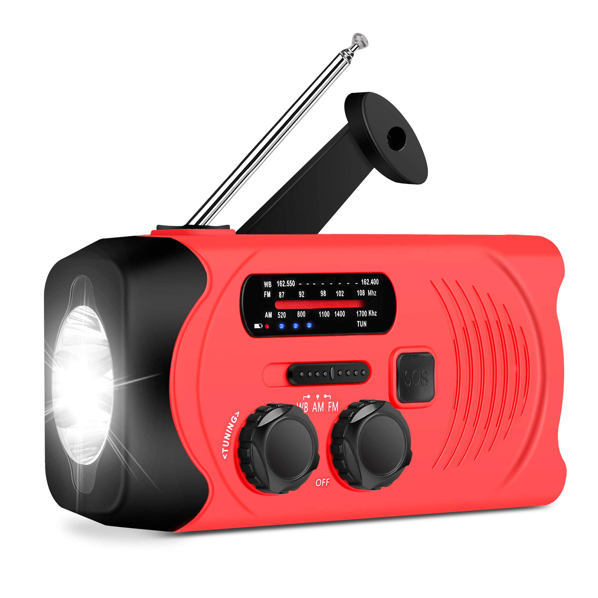[Upgraded Version] RunningSnail Emergency Weather AM/FM NOAA Solar Powered Wind up Radio with LED Flashlight, 2000mAh Power Bank for Cell Phone and SOS by RunningSnail