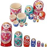 Lot 7 Poupée Russe en bois Matriochka Fait Main Peinture Fille Multicolore
