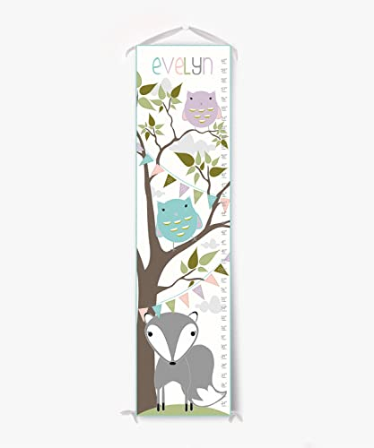 Amazon Com Growth Chart Custom Canvas Fox And Owl Personalized Growth Chart Handmade