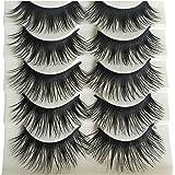 Bluelans® 5 Paar Lange Falsche Künstliche Wimpern Dick Natürlich Schwarz Eyelashes Wimpernverlängerung Make-up