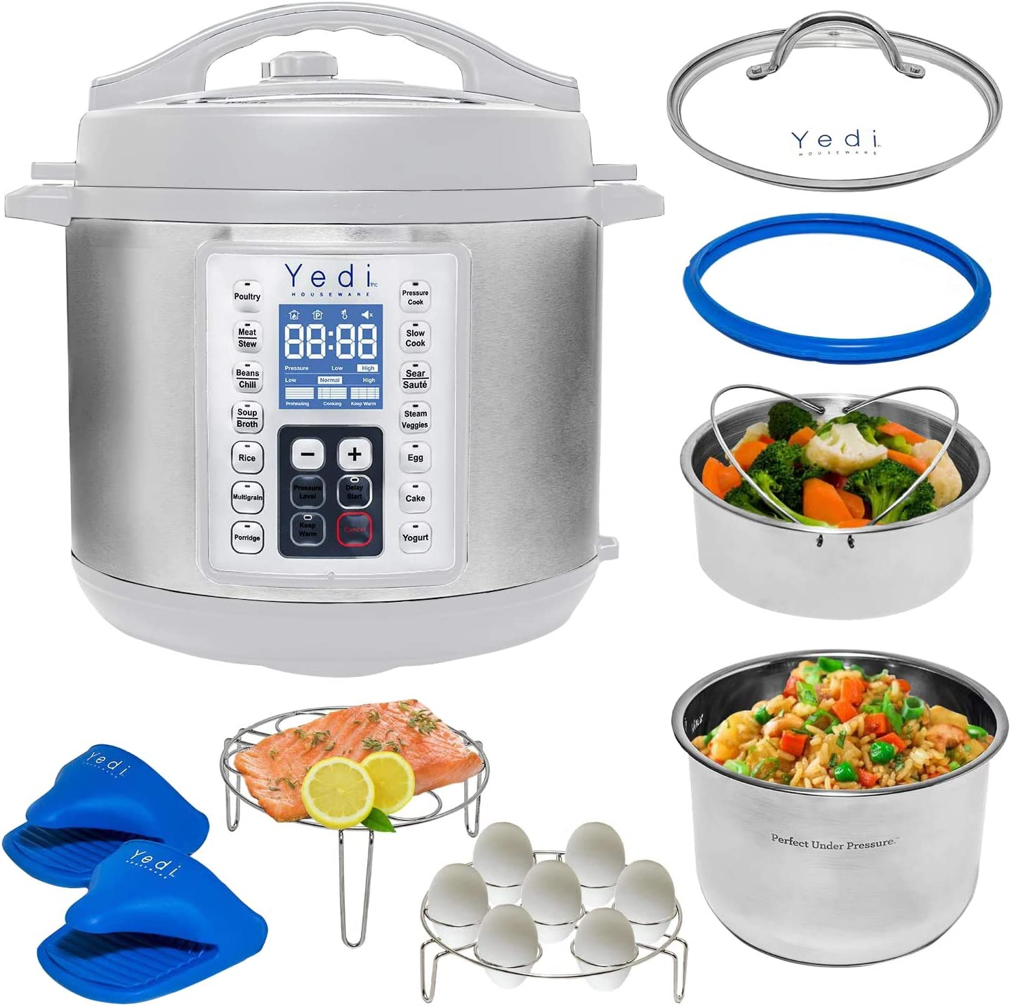 Yedi 9-in-1 Total Package Instant Programmable Pressure Cooker, 6 Quart, Deluxe Accessory kit, Recipes, Pressure Cook, Slow Cook, Rice Cooker, Yogurt Maker, Egg Cook, Sauté, Steamer, White