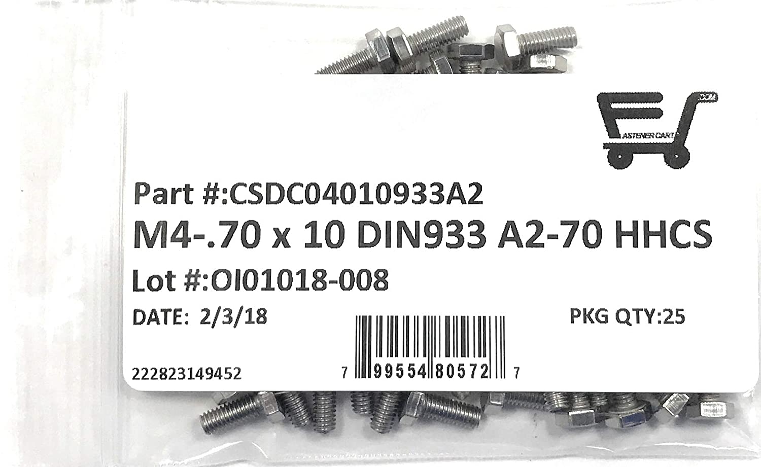 25 Pieces M4x6 Full Thread A2-70 Stainless Steel M4-.70 X 6 Hex Head Cap Screw Hex Bolts DIN933