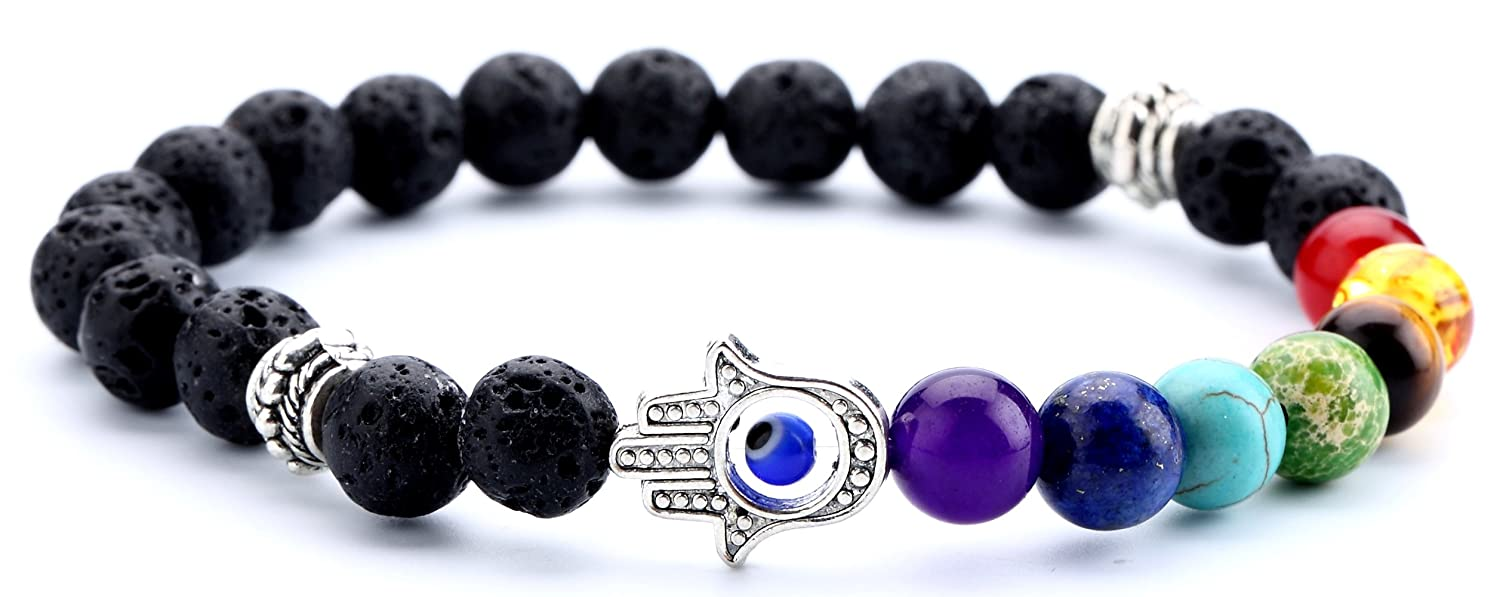 Doitory Men Women 8mm Lava Rock Chakra Beads Bracelet Elastic Natural Stone Yoga Bracelet Bangle zjsz001-Amethyst Beads