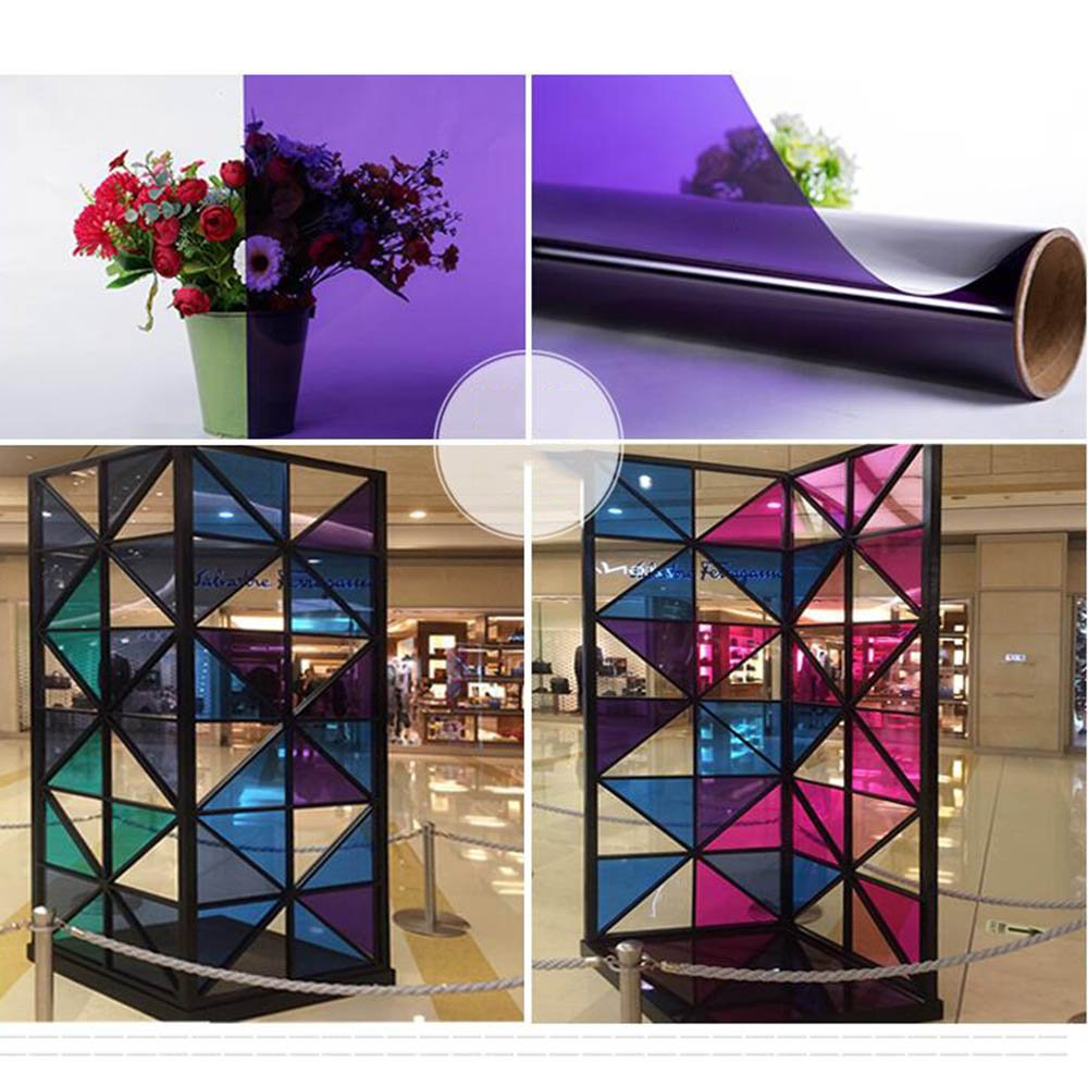 HOHO 2Mil Purple Window Film Self Adhesive Privacy Glass Sticker Home Decor Removable 60''x98ft Roll