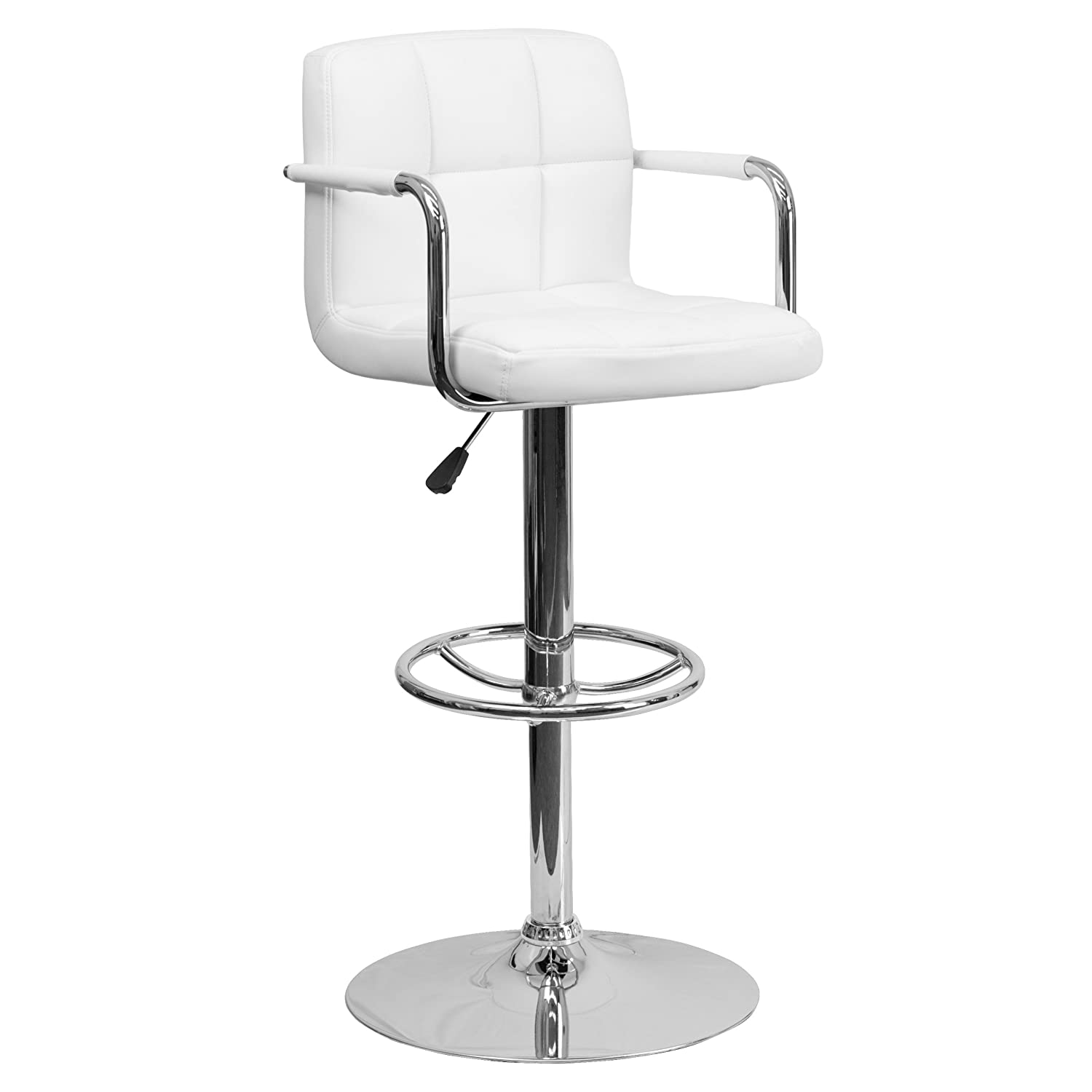 White 1 Pack Flash Furniture 2 Pk. Contemporary Red Quilted Vinyl Adjustable Height Barstool with Arms and Chrome Base