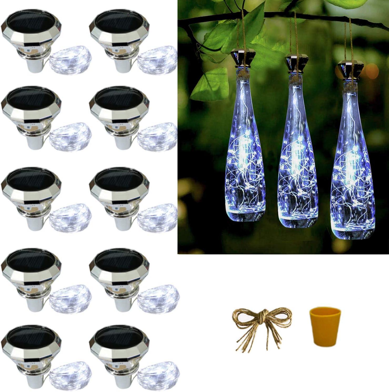 ZYLiWoo Starry Love Solar Bottle Lights,10 Pack Solar Diamond Wine Bottle Lights String, Outdoor Waterproof Cork Lights for Wedding Holiday Garden Patio Pathway Outdoor Wine Bottle Decorative (White)