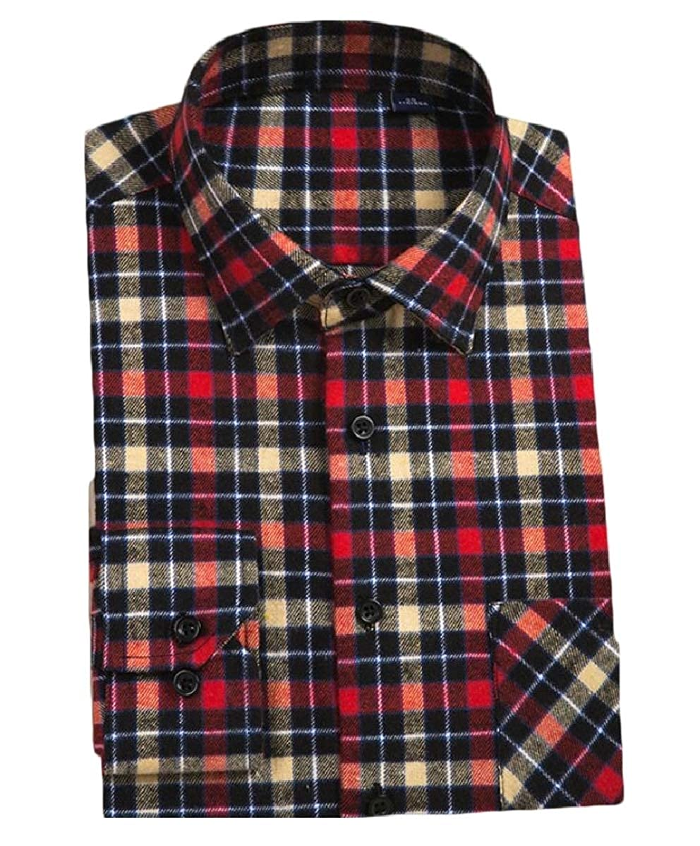 YIhujiuben Mens Long Sleeve Plaid Flannel Button Down Shirts with Pocket