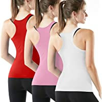 ATHLIO Women's (Pack of 3) Racerback Tank Compression Cool Crop Fitness Yoga Slim Fit Top