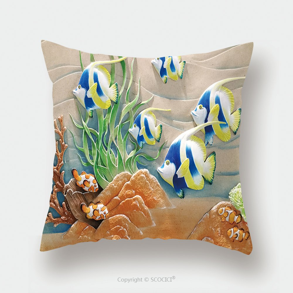 Custom Satin Pillowcase Protector Low Relief Cement Thai Style Handcraft Of Fish 612997883 Pillow Case Covers Decorative