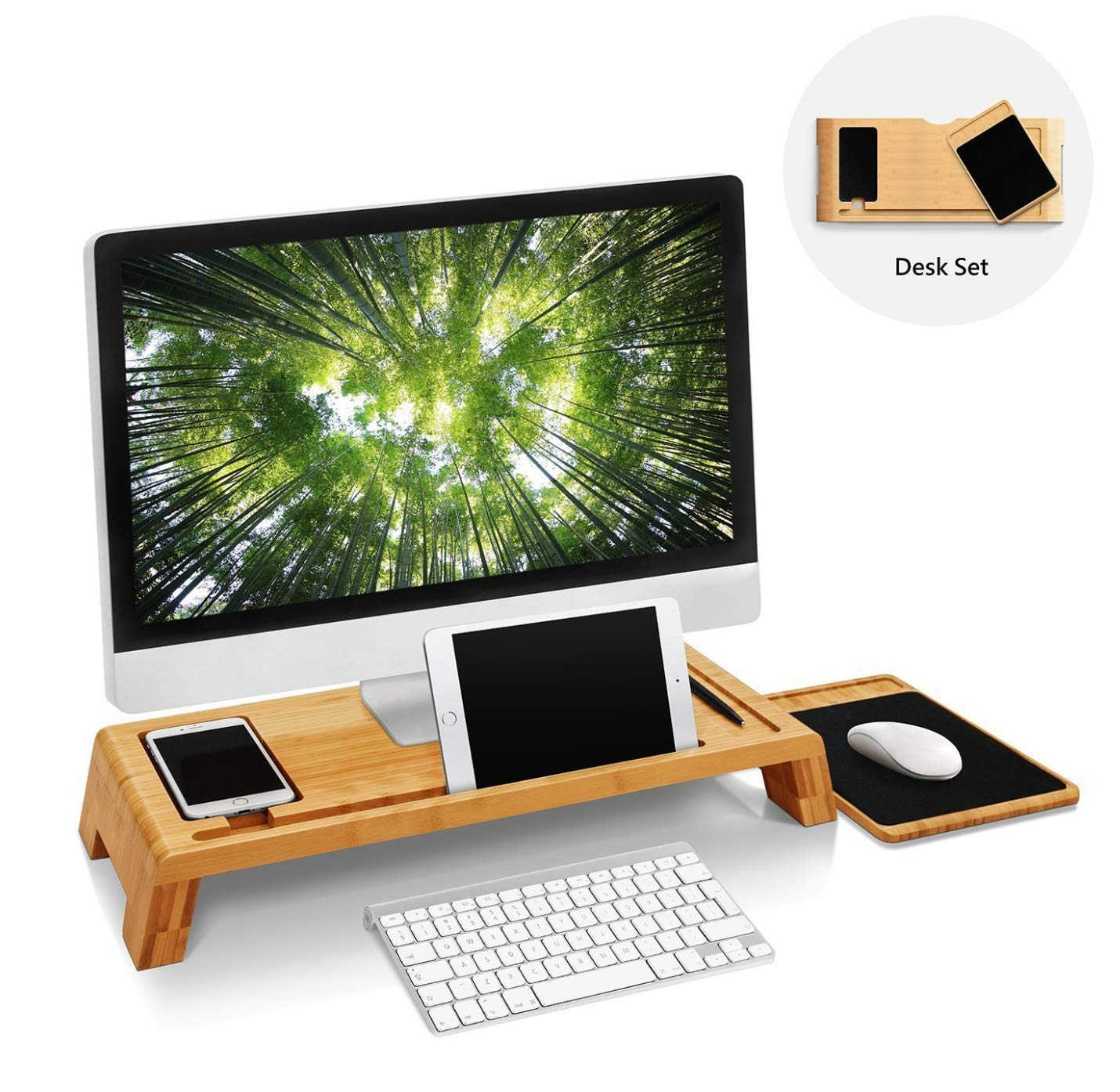 Bamboo Wood Monitor Stand Computer Riser with Storage Organizer Office Desk Laptop Cellphone TV Printer Desktop Container Natural