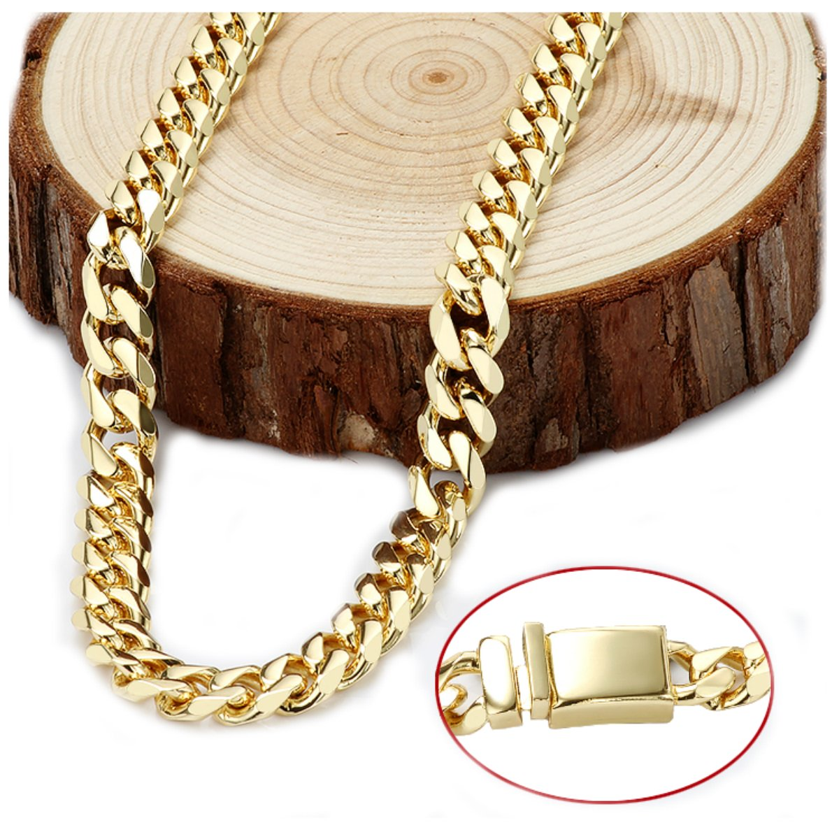 Gold chain necklace 14.5MM 24K Diamond cut Smooth Cuban Link with Warranty Of A LifeTimeLifetime USA made (28) by 14k Diamond Cut Smooth Cuban (Image #6)