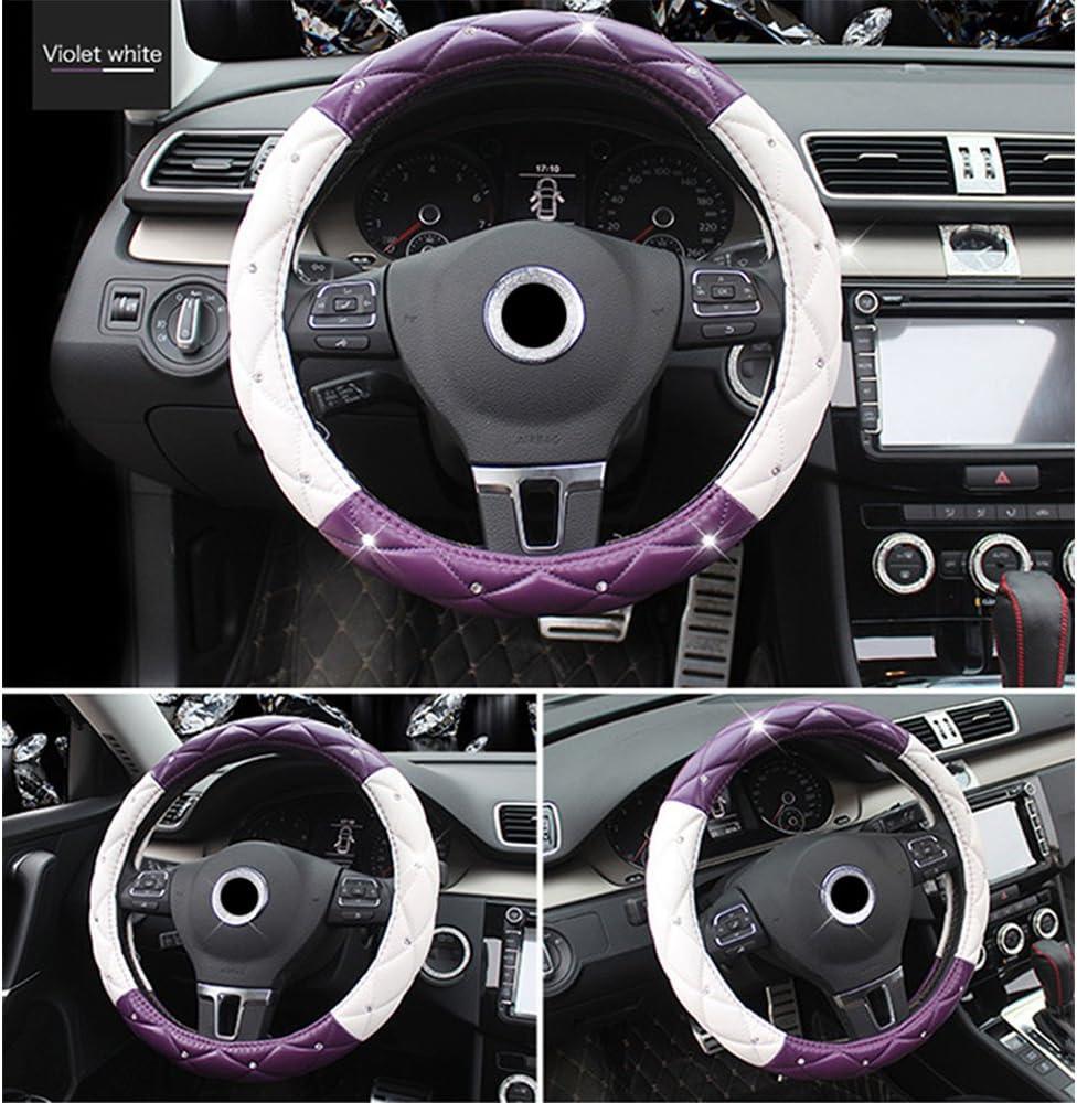 Universal Car Steering Wheel Cover Steering Wheel Cover Diamonds PU Leather 37-39CM//15 Anti Slip Protector Steering Wheel Protector For Women /& Girls Black/&Golden