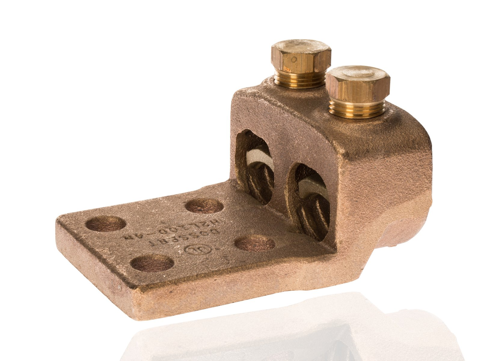 Split Bolt, Post and Tap Connector, Type TL Copper and Cast Bronze Terminal Lug, 750 MCM - 1000 MCM Wire Range, 1/2'' Bolt Hole Size, 4 Holes, 1300 Amp Nec, 3.875'' Width, 2'' Height, 5.5'' Length by NSI