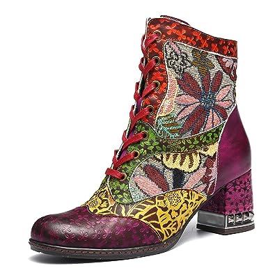 Gracosy Bottines Cuir Talons Femmes, Chaussures de Ville Hiver à Talons  Hauts Confortable Bottes à