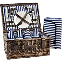 INNO STAGE Wicker Picnic Basket for 4, Picnic Set for 4,Willow Hamper Service Gift Set for Camping and Outdoor Party Best Gifts