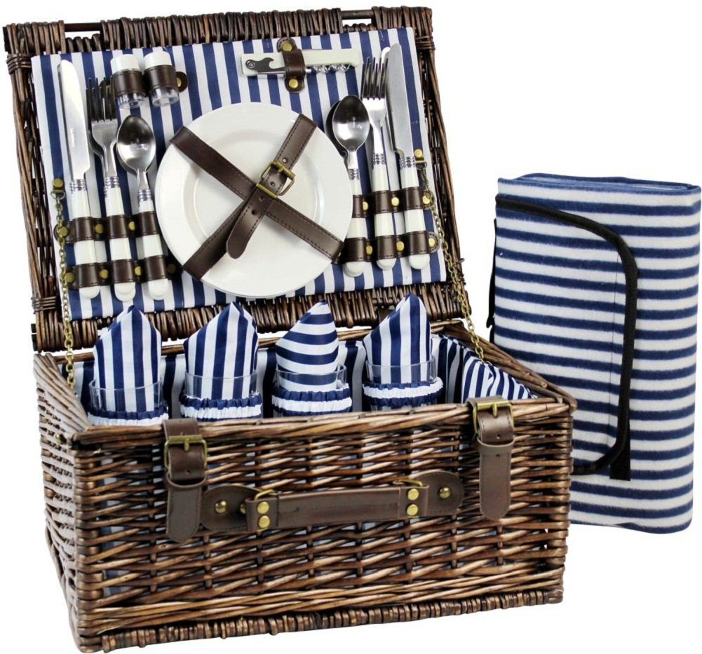 Wicker Picnic Basket for 4, Picnic Set for 4,Willow Hamper Service Gift Set for Camping and Outdoor Party Best Gifts by INNO STAGE
