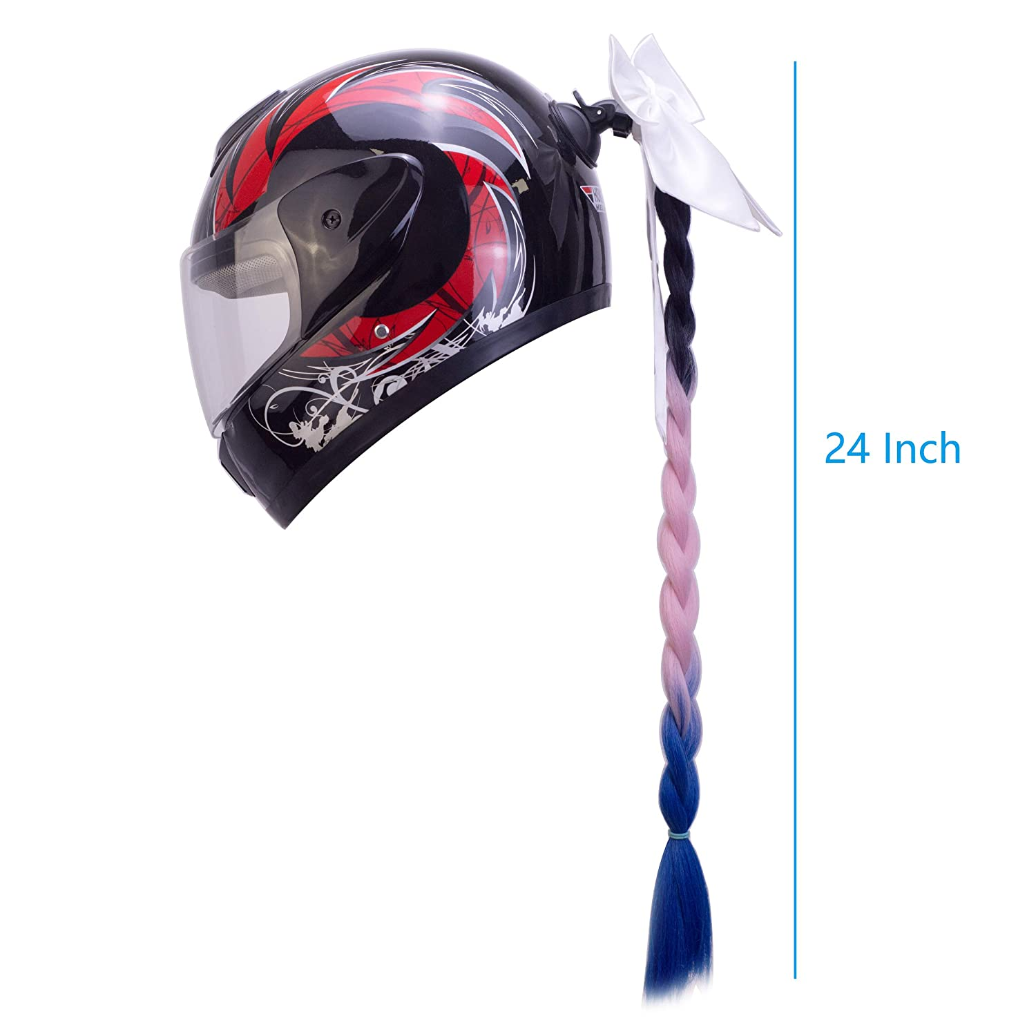 perfk Ladies /& Girls Motorcycle Accessory Pigtails with Removable Suction Cup Works On Motorbike Bicycle Batting Skate or Other Helmets Black