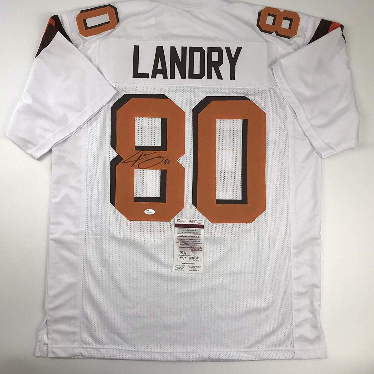 new product 46b28 c1967 Autographed/Signed Jarvis Landry Cleveland White Football ...