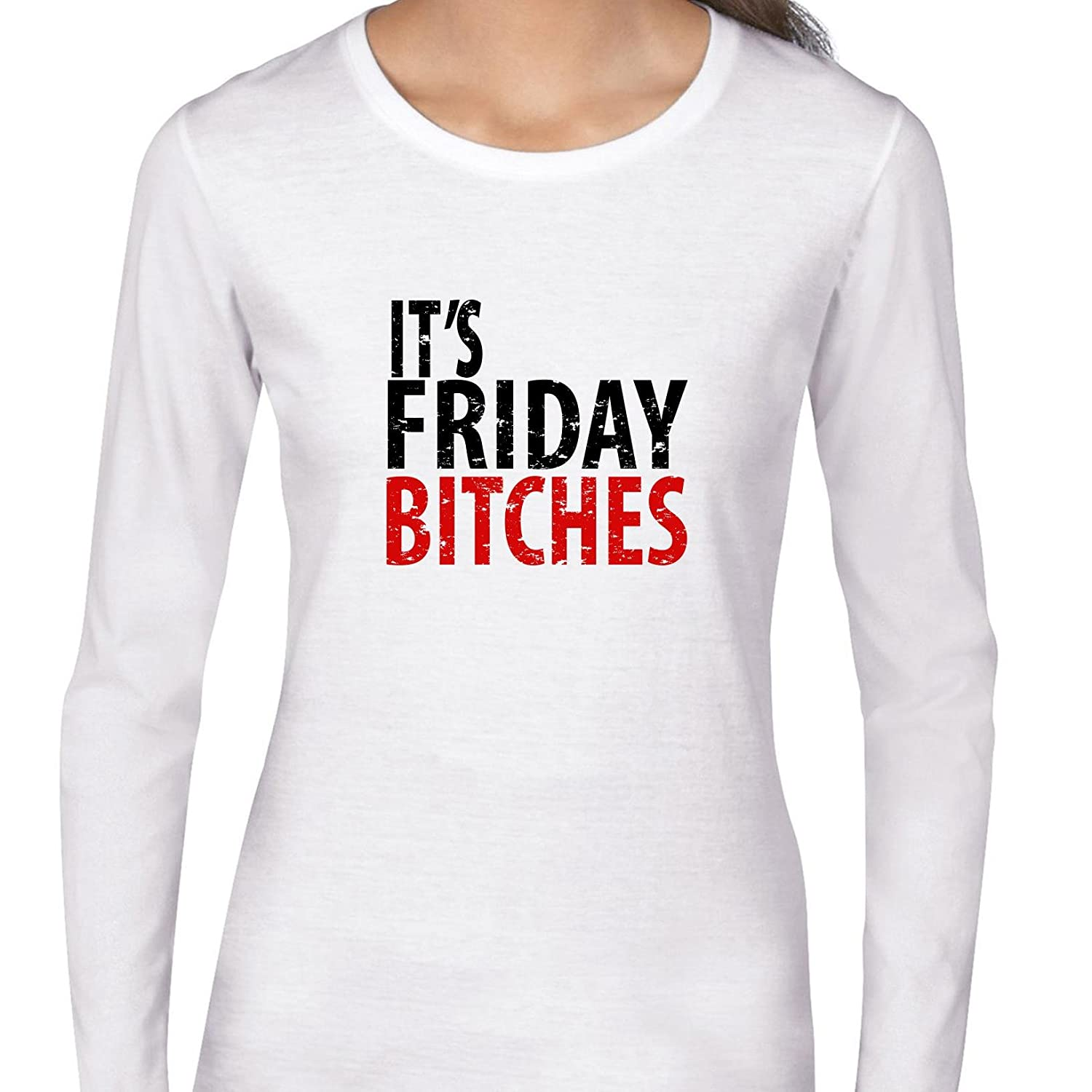 2c3c9b56da1e7e Amazon.com: It's Friday Bitches - Celebrate The Weekend In Red & Black  Women's Long Sleeve T-Shirt: Clothing