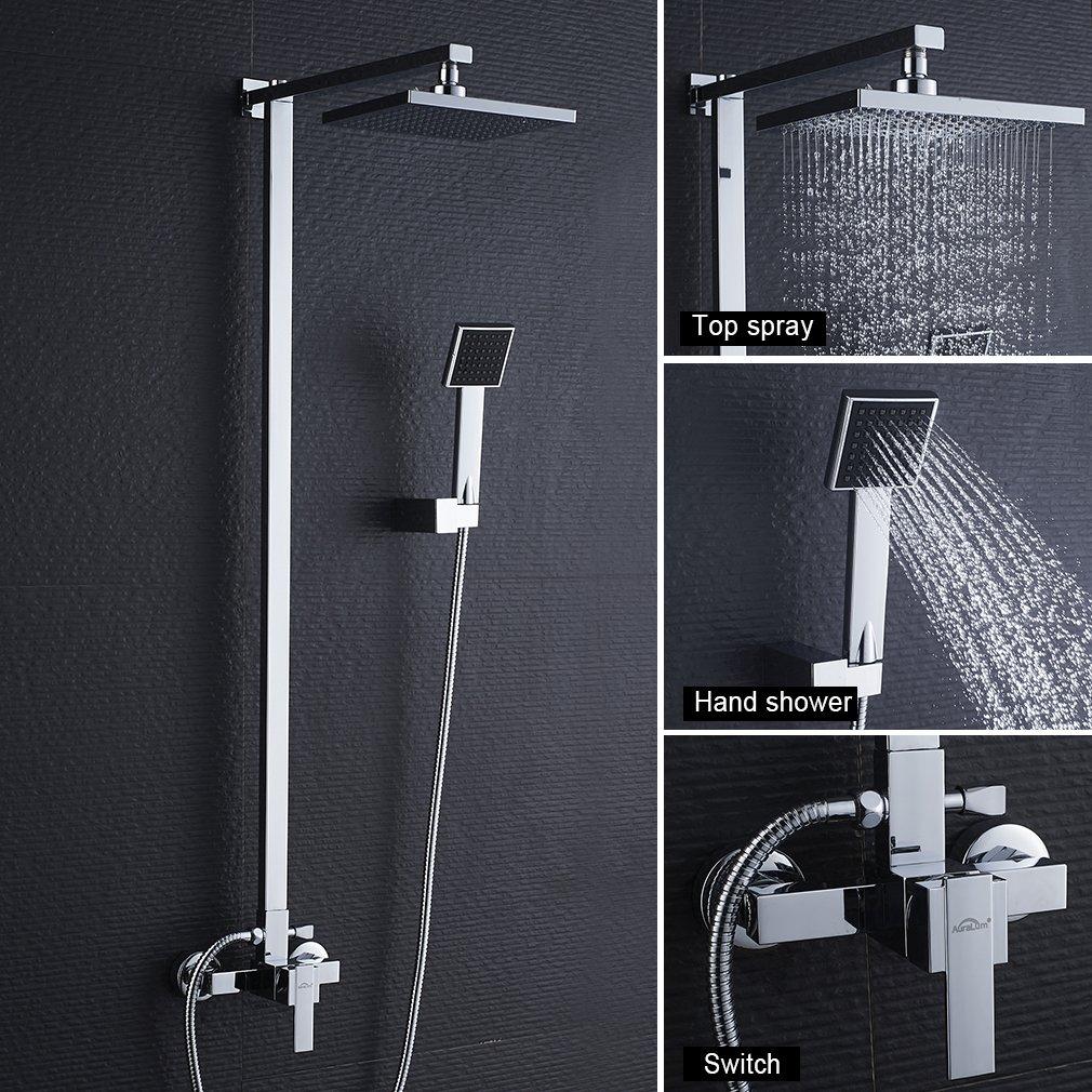 Auralum Bathroom Rainfall Shower System Wall Mount Rain Mixer Shower ...