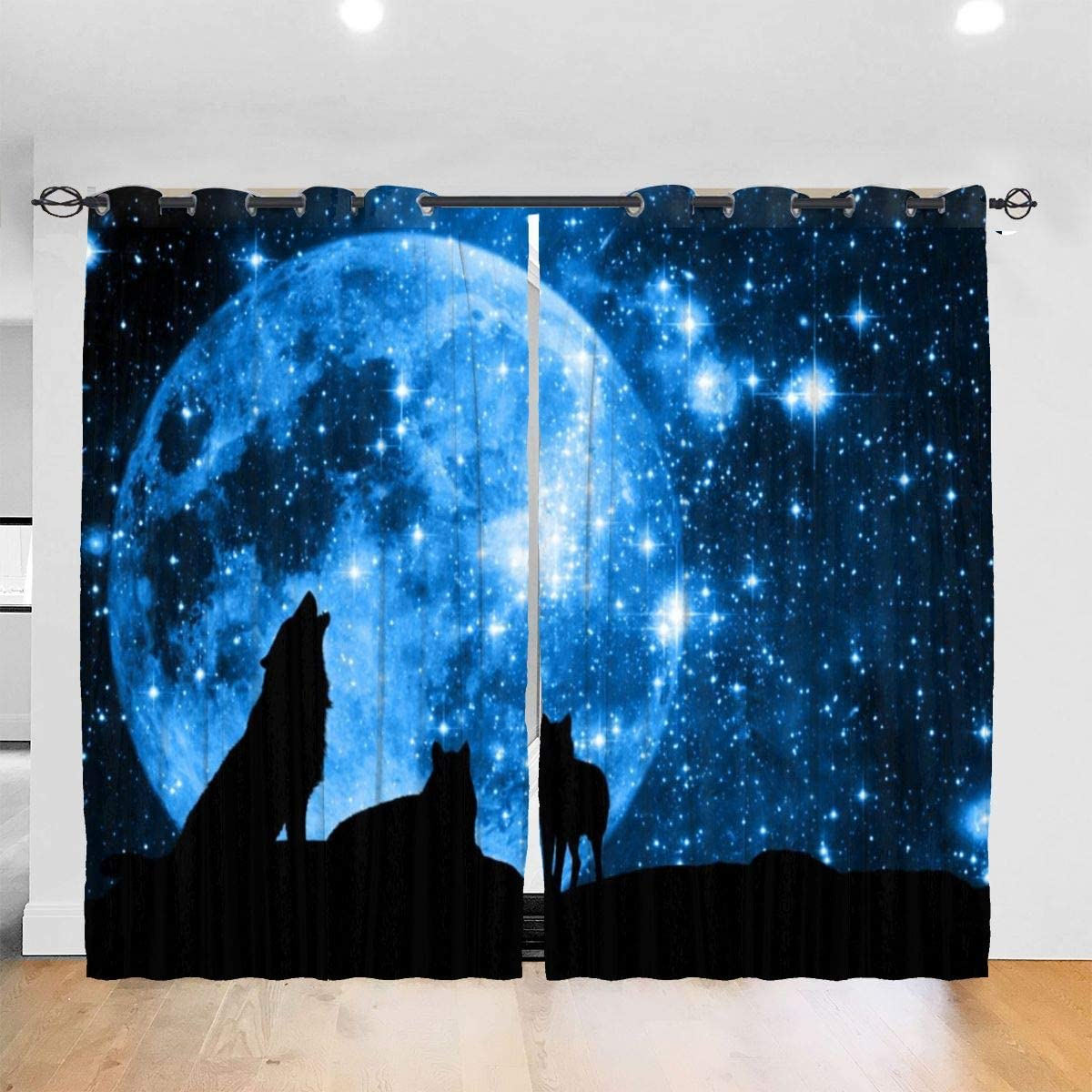Wolves with Blue Starred Sky Moon Curtains Decorative Thick Darkening Drapes, Autumn Window Coverings for Bedroom Living Room Bathroom Or Room Divider, Set of 2 Panels