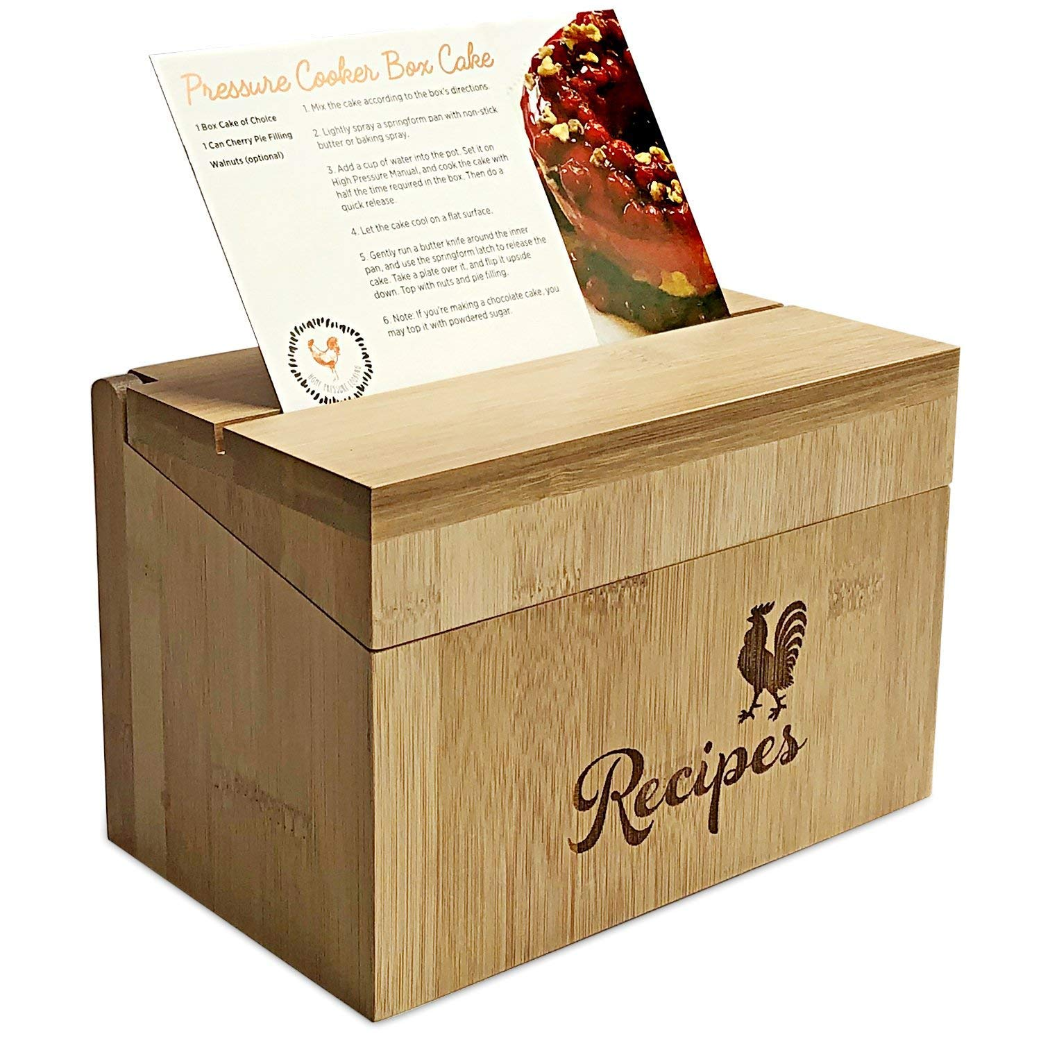 Wood Recipe Box with 40 Index Cards - Bamboo Wooden Construction - Includes 10 Printed Instant Pot Recipe Cards