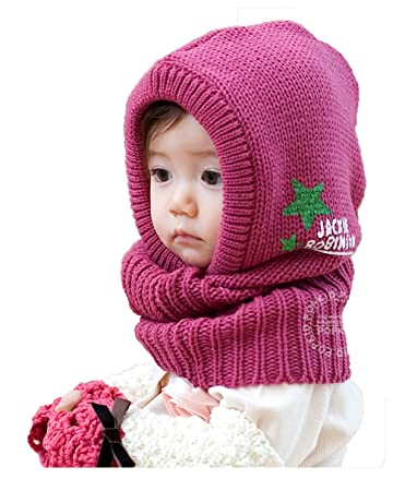 Image Unavailable. Image not available for. Color  Winter Beanie Baby Kids  Boy Girl Warm Hats Hooded Scarf Earflap Knitted ... 17f04944b9e2