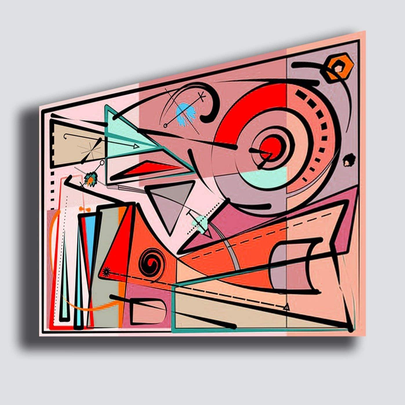 Cuadro Moderno Kandinsky Estilo 50 x 70 cm Composición roja Abstracta - Reparación impresión sobre Lienzo Dormitorio Lienzo Grande Cuadros Modernos Arte Abstracto Cocina salón