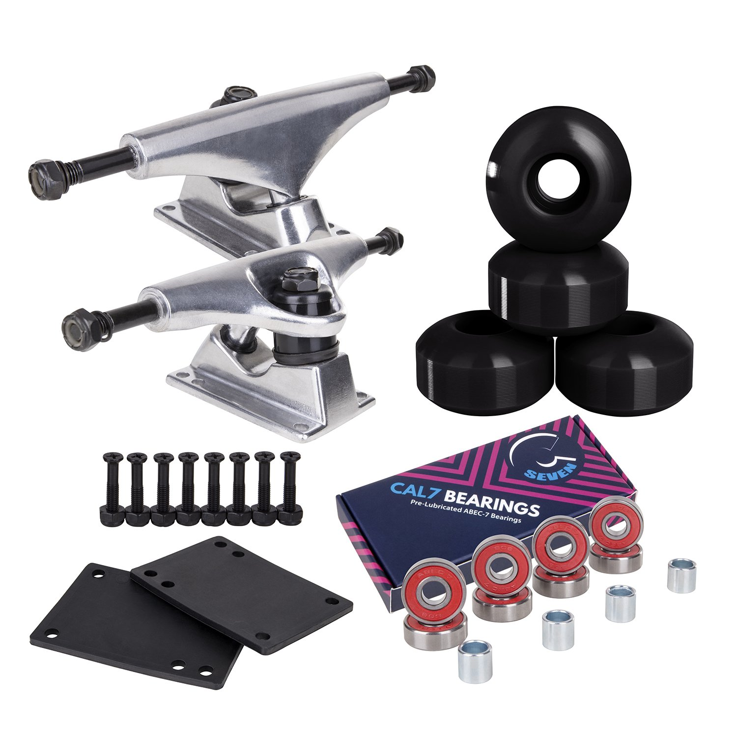 Cal 7 Skateboard Package Combo with 5 Inch / 129 Millimeter Trucks, 52mm 99A Wheels, Complete Set of Bearings and Steel Hardware (Silver Truck + Black Wheels) by Cal 7