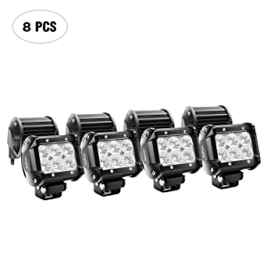 Nilight LED Light Bar 8PCS 4Inch 18W LED Bar 1260lm Flood Led Off Road Driving Lights Led Fog Lights Jeep Lighting LED Work Light for Van Camper SUV ATV ,2 Years Warranty