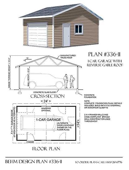 Garage Plans 1 Car Reverse Gable Garage Plan 33611 14 x 24 – Basic Garage Plans