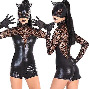 Amazon.com: SHANGXIAN Sexy negro piel de gato mujer mono de ...